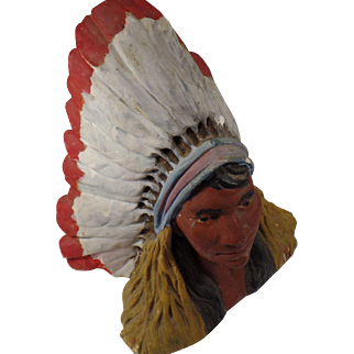 """Vintage,1934 Cigar Store Chalkware Indian Bust 8.5"""" Tall"""