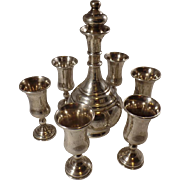 Sterling Silver Judaica Kiddush Set/ Wine Decanter and Goblets