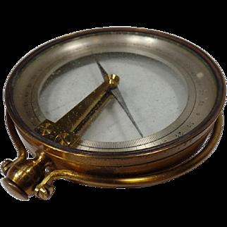 Antique Brass Compass, Surveying Mining Tool, Dip Needle Inclinometer