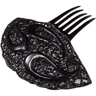 Vintage (early 1900's) Celluloid Tortoise Shell, Black Hair Comb, Unique Design