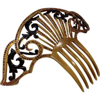Vintage(1900's) Celluloid Tortoise Shell, Wing Shaped,  Hair Comb with Rhinestones