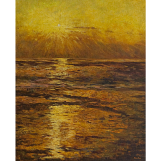 "Guillermina Zenteno ""Golden sea sight"" 20th Century Landscape Painting Oil on canvas"