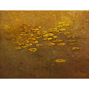 "Guillermina Zenteno ""Lotus"" 20th Century Landscape Painting Oil on canvas"