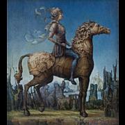 "Juan Reyes Haro ""Amazon"" 20th Century Surrealistic Painting Oil on Canvas"