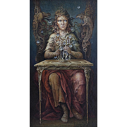 "Juan Reyes Haro ""Sibylla"" 20th Century Surrealistic Painting Oil on canvas"