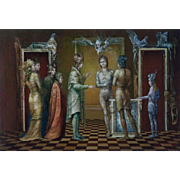 "Juan Reyes Haro ""The house of the spirits"" 20th Century Surrealistic Painting Oil on Canvas"