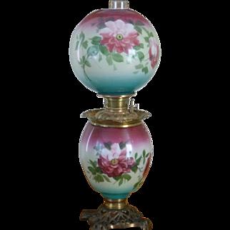 "Enormous Jumbo 32"" Fostoria Victorian Oil Banquet Lamp c. 1800s"