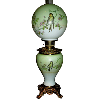 Breathtaking Antique Fostoria Gone With The Wind Banquet Oil Lamp c. 1800s