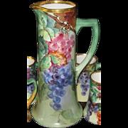 Gorgeous Antique Porcelain Guerin & Pouyat Limoges Tankard/Pitcher set