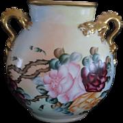 Gorgeous Antique Pouyat Limoges Large Porcelain Pillow Vase With Dragon Handles