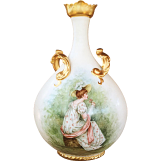 Pouyat Limoges Pillow Vase With Victorian Style and Heavy Gilt!