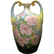 Luxurious Limoges Pouyat Cabbage Rose Muscle Vase