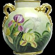 Rare Antique Jean Pouyat Limoges Porcelain Pillow Vase With Dragon Handles