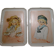 Limoges Artist Signed Porcelain Portrait Trays by Giraud