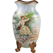 Gorgeous Antique M Redon Porcelain Limoges Vase c. 1891-1896
