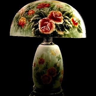 Breathtaking Reverse Painted Lamp Handel era, Pittsburgh or Jefferson