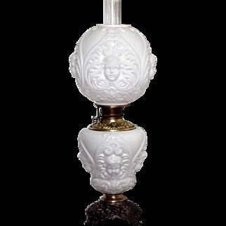 Gorgeous Milk Glass Antique Cherub Banquet Oil Lamp Converted To Electric