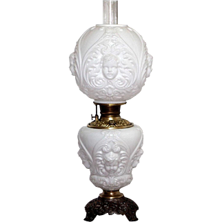 Gorgeous Milk Glass Antique Cherub Victorian Banquet Oil Lamp c. 1800s