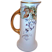 Artist Signed Pouyat Limoges Bursting Blueberries Pitcher/Tankard c. 1910