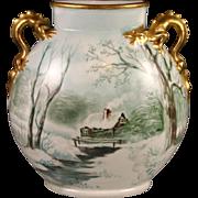 Vintage Snowscape Artist Signed Pouyat Limoges Pillow Vase With Gilt Dragon Handles!
