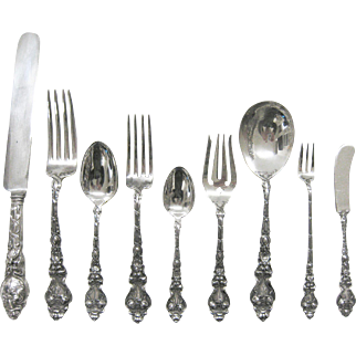 Douvaine by Unger Brothers, Sterling silver Dinner size set for 6 with serving pieces Circa 1900 .(60 pieces)