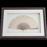 Framed 19th Century Hand Carved Sandalwood Silk Fan