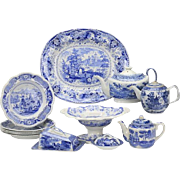 12-Piece 19th c. blue and white transferware