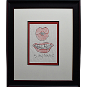 "Original Signed Pop Art Drawing by Andy Warhol Entitled ""Lips"""