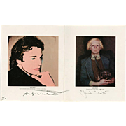 Andy Warhol and Jamie Wyeth, Andy Warhol & Jamie Wyeth Portraits of Each Other Signed Exhibition Promo, 1976
