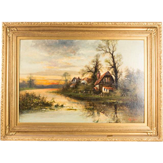 Large Important 19th Century Oil Painting by Alfred Benjamin Cole