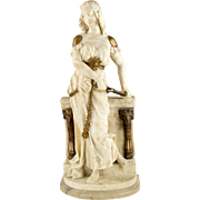 2 Foot Tall 19th Century Italian Carved Alabaster Sculpture