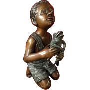 Large Bronze Sculpture of Boy with Frog