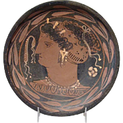 Gorgeous 4th Century B.C. Apulian Red-Figure Plate Depicting Lady of Fashion