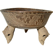 11th Century Costa Rican Central Highlands Chocolate-Ware Tripod Bowl