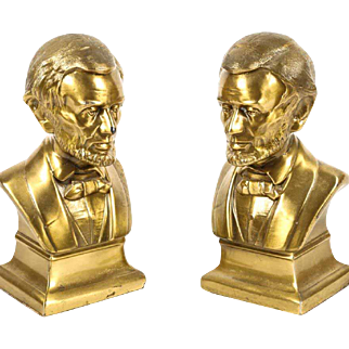 Magnificent Abraham Lincoln Brass Bookends
