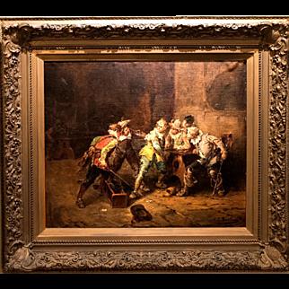 "19th Century Oil Painting by Giorgio Baldero (Italy) – ""Tavern Brawl"""