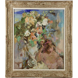 """Large Wallace Bassford Oil Painting Entitled """"Moment of Spring"""""""