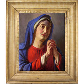 Original Oil Painting by Alois Binder Entitled Praying Madonna
