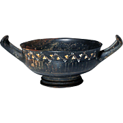 4th Century BC Greek Gnatian Pottery Kylix with Incised & Painted Detail