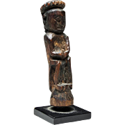 Borneo Ngaju Dayak Wood Seated Prayerful Charm Figure