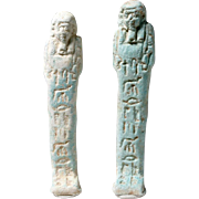 Two Magnificent Egyptian Faience Ushabtis