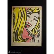 "Fabulous Original Signed Drawing by Roy Lichtenstein – ""Girl In The Mirror (Study)"""