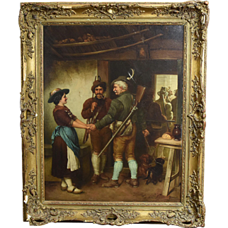 "19th Century Oil Painting by Jacobus Leisten after Defregger Entitled ""Farewell of the Hunters"""