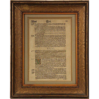 Rare Leaf from Martin Luther's Bible of 1545 – Containing a Portion of the Book of Exodus