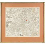 Early 18th Century Mattheus Seutter Hand Colored Engraved Map of Paris Region of France