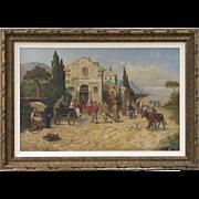 Very Large 19th Century Italian Oil Painting by Enrico Sartori