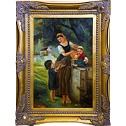 19th Century Continental Oil Painting of Mother & Children