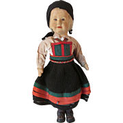 "Large Early Ronnaug Petterssen Setesdal Norway Felt Cloth Vintage Doll 14 1/2""  TLC"