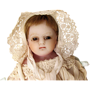 """English 19th C Poured Wax Antique Baby Doll 17"""" on Original Cloth Body with Original Poured Wax Limbs Long Antique Christening Gown TLC"""