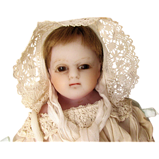 "English 19th C Poured Wax Antique Baby Doll 17"" on Original Cloth Body with Original Poured Wax Limbs Long Antique Christening Gown TLC"